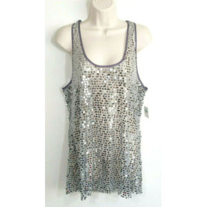 FREE PEOPLE Shiny Sequin Mesh Tank Top 2807E1